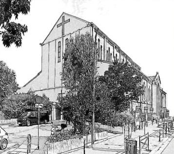Croquis de l'église Notre-Dame-du-Perpétuel-Secours